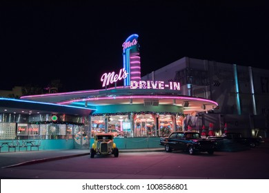 Orlando, Florida: November 30, 2017: Mel' s Drive-In Theater at Universal Studios Florida.