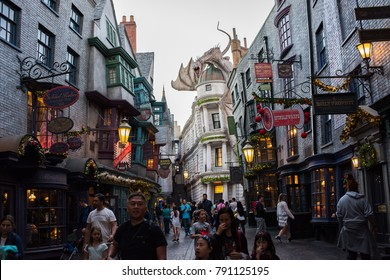Orlando, Florida: November 30, 2017: The Wizarding World of Harry Potter – Diagon Alley at Universal Studios Florida.