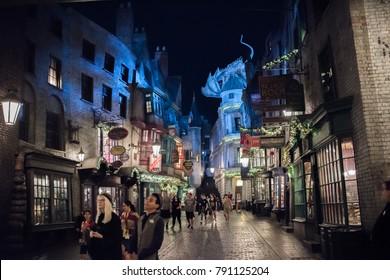 Orlando, Florida: November 30, 2017: The Wizarding World of Harry Potter – Diagon Alley at Universal Studios Florida.