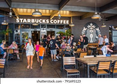 Orlando, Florida: November 30, 2017: A Starbucks store in Universal Orlando Resort in Orlando, Florida.