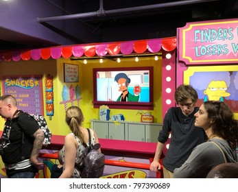 Orlando, Florida: November 30, 2017: Tourists waiting in line at the Simpsons Ride at Krustyland at Universal Studios Florida theme park in Orlando, Florida.