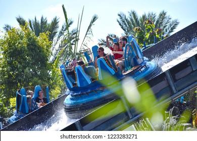 Orlando, Florida. October 19, 2018. Excited child enjoying amazing Infinity Falls at Seaworld MarineTheme Park.