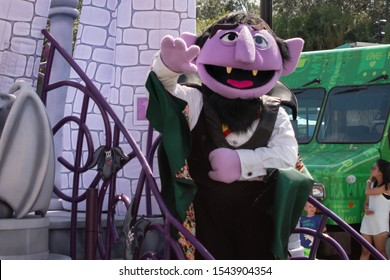 Orlando, Florida. October 24, 2019. Count Von Count in Halloween Sesame Street Party Parade at Seaworld 13
