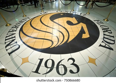 ORLANDO, FLORIDA - OCTOBER 28:  University of Central Florida's Pegasus Seal, as the tradition is told a student who steps on the seal will never graduate from UCF, as seen on October 28, 2017.