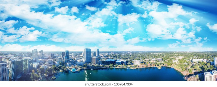 Orlando, Florida. Panoramic aerial view of city skyline from Lake Eola.
