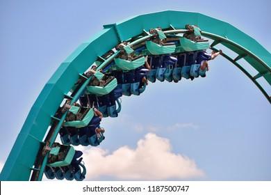 Orlando, Florida. September 21, 2018. Amazing Themed Kraken Roller Coaster at Seaworld  in International Drive Area