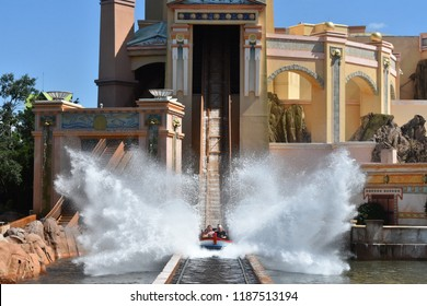 Orlando, Florida. September 21, 2018. Water ride enthusiasts enjoying Journey to Atlantis , water coaster ride at Seaworld.