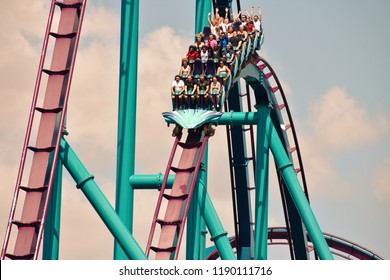 Orlando, Florida. September 25, 2018. People enjoying spectacular rollercoaster at Seaworld in International Drive Area.