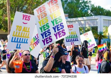 Orlando, Florida - September 26, 2016: Group marching in Gay Pride