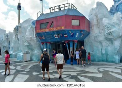 Orlando, Florida. September 29, 2018. People walking towards International Expedition Cafe at Seaworld Theme Park.