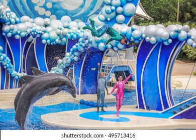 Orlando, Florida, United States - April 22, 2012: bottlenose dolphins in Azul Show at Seaworld. Seaworld is an animal theme park, oceanarium and to a marine mammal park.