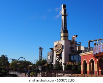 Orlando, Florida, United States - December 3rd, 2019: Willy Wonka-Inspired Chocolate Factory at Universal's Islands of Adventure