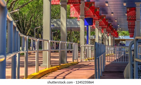 Orlando, Florida / United States - March 13, 2018: Standing Lanes Wrap Around Waiting Lines in the Busses Area at Disney World Amusement Park