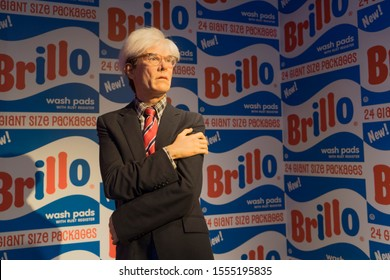 Orlando, Florida / USA - 10th September 2019: Andy Warhol, Artist. Madame Tussauds Wax museum at ICON Park on International Drive, the ultimate fame experience getting close to the stars.