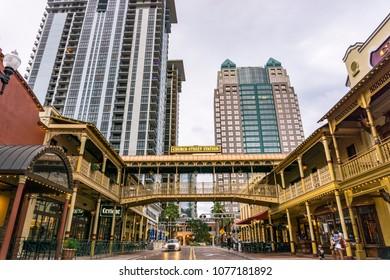 Orlando, Florida / USA - April 15, 2018 : W Church St.  in Downtown Orlando