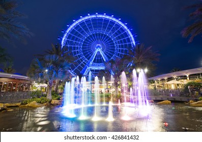 ORLANDO, FLORIDA, USA - APRIL 30, 2016: The Orlando Eye is a 400 feet tall ferris wheel in the heart of Orlando and the largest observation wheel on the east coast