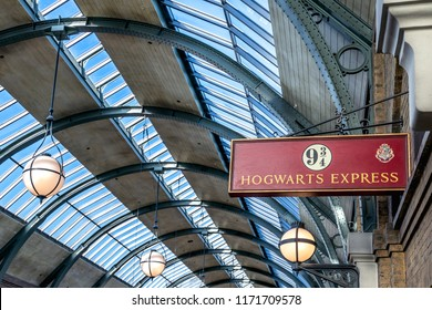 ORLANDO, FLORIDA, USA - DECEMBER, 2017: The Wizarding World of Harry Potter - The Hogwarts Express Train Station and Platform, Universal Studios Florida