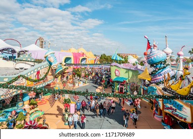 ORLANDO, FLORIDA, USA - DECEMBER, 2017: Aerial colorful view of the theme park Universal Studios Orlando Florida at Christmas time