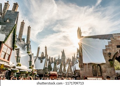 ORLANDO, FLORIDA, USA - DECEMBER, 2017: The old houses at Harry Potter Hogsmeade, Wizarding World of Harry Potter in Islands of Adventure, Universal Studios Florida