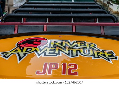 ORLANDO, FLORIDA, USA - DECEMBER, 2018: Jurassic Park River Adventure Car Ride, Universal Studios Florida, Islands of Adventure