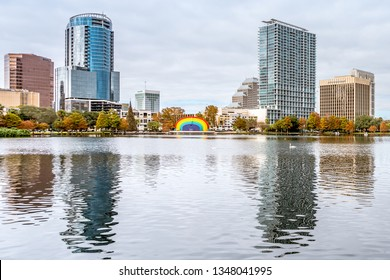 ORLANDO, FLORIDA, USA - DECEMBER, 2018: Eola Lake Park, popular destination for festivals, concerts, fundraising walks and even weddings, located at Downtown Orlando.