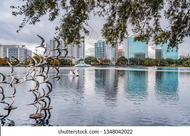ORLANDO, FLORIDA, USA - DECEMBER, 2018: Lake Eola park, located at Downtown Orlando, with a large sculpture of seagulls.