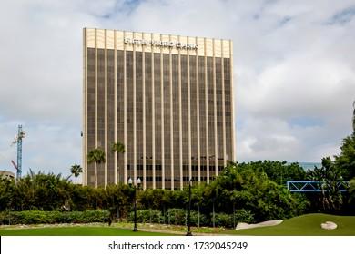 Orlando, Florida, USA- February 20, 2020: Fifth Third Bank office building in downtown Orlando, Florida, USA; Fifth Third Bank  is the subsidiary of Fifth Third Bancorp, a bank holding company.