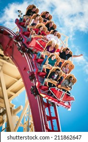 ORLANDO, FLORIDA, USA - JAN 8:  Riders enjoy the Rip Ride Rockit Rollercoaster at Universal Studios on January 8, 2011.  The ride is a steel rollercoaster that allows users to select their music.