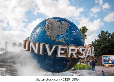 ORLANDO, FLORIDA, USA - JAN 8:  The large rotating Universal logo globe on January 8, 2011.  Universal Studios is one of Orlando's famous theme parks.