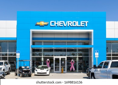 Orlando, Florida, USA - January 21, 2020: Exterior view of  Chevrolet  car dealership in Orlando, Florida, an American automobile division of the American manufacturer General Motors (GM).