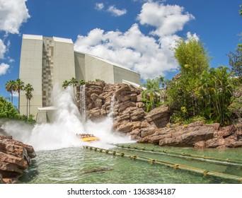 Orlando, Florida, USA - June 2015 : Universal Studios Theme Park, Jurassic Park water flume ride
