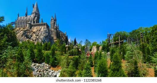 Orlando, Florida, USA - May 09, 2018: The Hogwarts Castle at The Wizarding World Of Harry Potter in Adventure Island of Universal Studios Orlando. Universal Studios Orlando is a theme park in Orlando