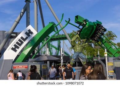 Orlando, Florida, USA - May 10, 2018: Incredible hulk coaster in Adventure Island of Universal Studios Orlando. Universal Studios Orlando is a theme park resort in Orlando, Florida.