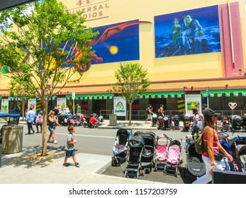 Orlando, Florida, USA - May 10, 2018: The Entrance to Shrek 4D ride in soundstage. Universal Studios Orlando is a theme park resort in Orlando, Florida, USA. Universal Studios Orlando is a theme park