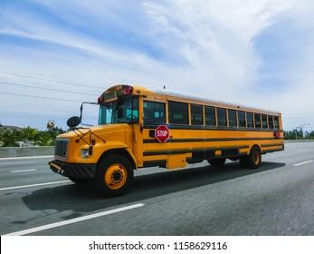 Orlando, Florida, USA - May 10, 2018: The traditional school buss on freeway road at Orlando, Florida, USA