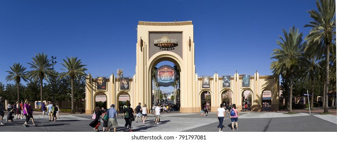 ORLANDO, FLORIDA, USA - NOVEMBER 3: Gate Entrance to Universal Studios.  Taken November 3, 2017 in Florida.