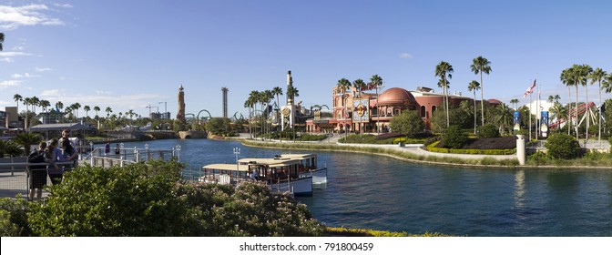 ORLANDO, FLORIDA, USA - NOVEMBER 3: Universal Blvd Hard Rock Cafe at Universal Studios and river.  Taken November 3, 2017 in Florida.