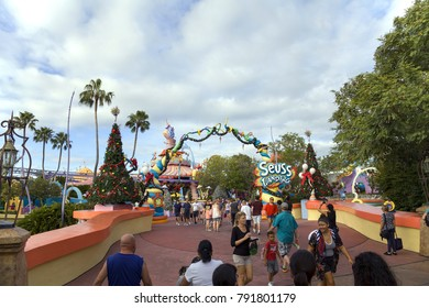 ORLANDO, FLORIDA, USA - NOVEMBER 3: People at Universal's Studios Islands of Adventure Seuss Landing.  Taken November 3, 2017 in Florida.