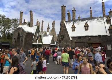 ORLANDO, FLORIDA, USA - NOVEMBER 3: Wizarding Village of Hogsmeade at Island of Adventure Universal Studios.  Taken November 3, 2017 in Florida.