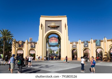 ORLANDO, FLORIDA, USA - NOVEMBER 3: People at Gate Entrance to Universal Studios.  Taken November 3, 2017 in Florida.