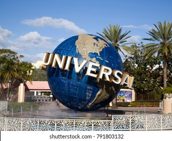 ORLANDO, FLORIDA, USA - NOVEMBER 3: Famous earth globe icon at Universal Studios.  Taken November 3, 2017 in Florida.