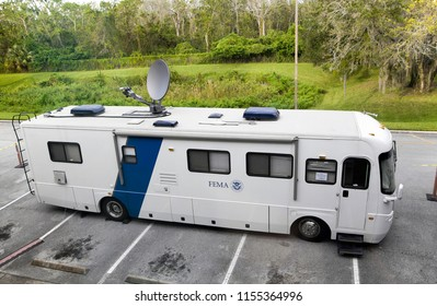ORLANDO, FLORIDA, USA - NOVEMBER 8: A FEMA van parked outside library after hurricane Irma.  Taken November 8, 2017 in Florida.