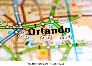 Orlando. Florida. USA on a map