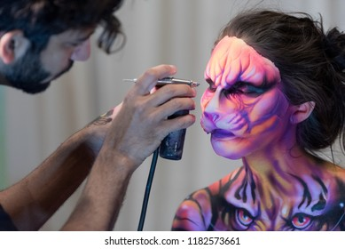 Orlando, Florida / USA - September 15, 2018: Special Effects Makeup Artist with