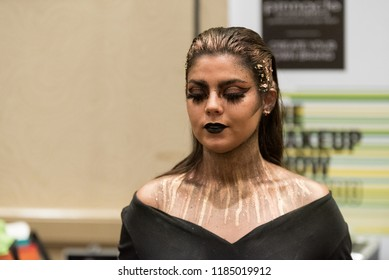 Orlando, Florida / USA - September 15, 2018: Female Model with Makeup Applied by a Make up Artist  at The Makeup Show in Orlando, FL