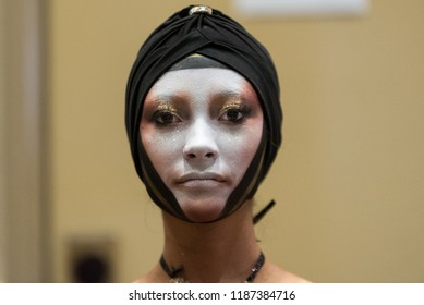 Orlando, Florida / USA - September 15, 2018: Portrait of a Female Model with Creative Makeup Applied at The Makeup Show in Orlando, FL