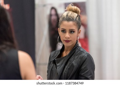 Orlando, Florida / USA - September 15, 2018: Portrait of a Pretty Woman at The Makeup Show in Orlando, FL