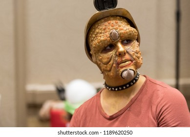 Orlando, Florida / USA - September 15, 2018: Model with Special Effects Makeup at The Makeup Show in Orlando, FL