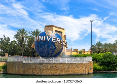 Orlando, Florida, USA-July 17, 2019: Universal Studios three dimensional logo during the daytime. The company is owned by Comcast through the Universal Filmed Entertainment Group