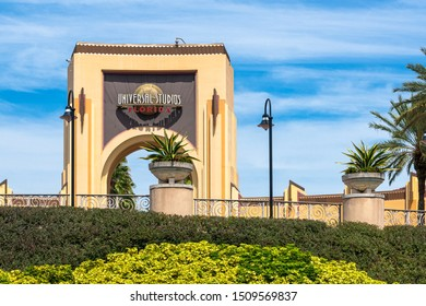 Orlando, Florida, USA-July 17, 2019: Entrance door to the Universal Studios theme park during the daytime. The famous place is a major tourist attraction
